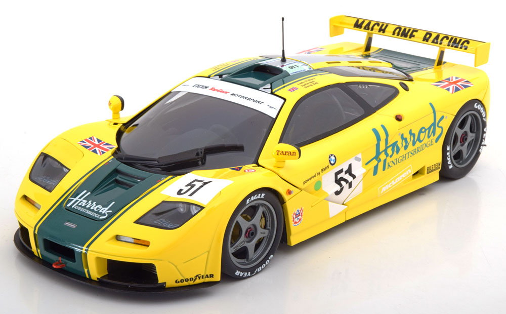 Minichamps 1:18スケール ダイキャストモデル 1995年ルマン24時間 マクラーレン F1 GTR BMW S70 6.1L V12 No.51McLAREN - F 1 GTR BMW S70 6.1L V12 TEAM HARRODS MACH ONE RACING N 51 3rd 24h LE MANS 1995 A.WALLACE 1/18 by Minichamps NEW