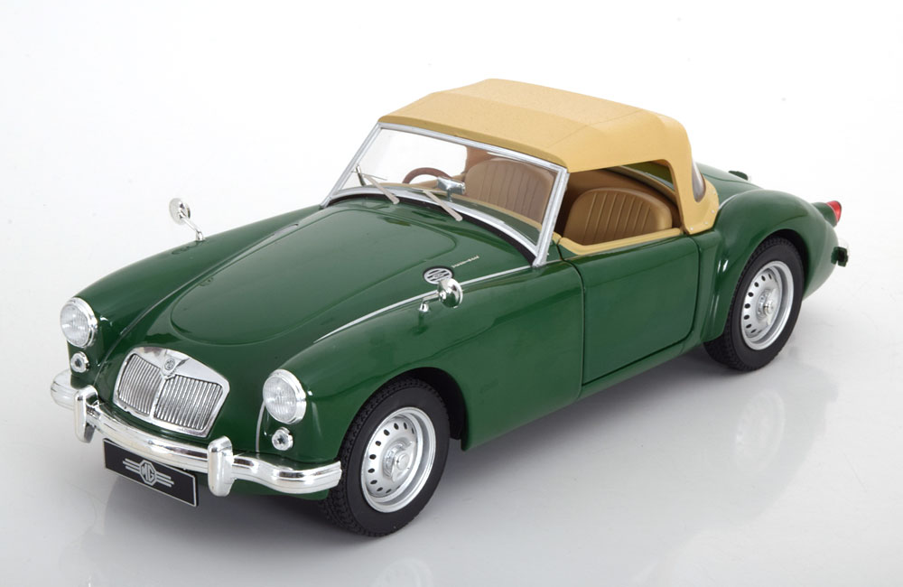 Tripple 9 1:18 1959年モデル MGA MKI クローズドソフトトップ グリーン1959 MGA MKI Twin Cam closed soft top & Dunlop peg drive wheels. Diecast model with opening front doors