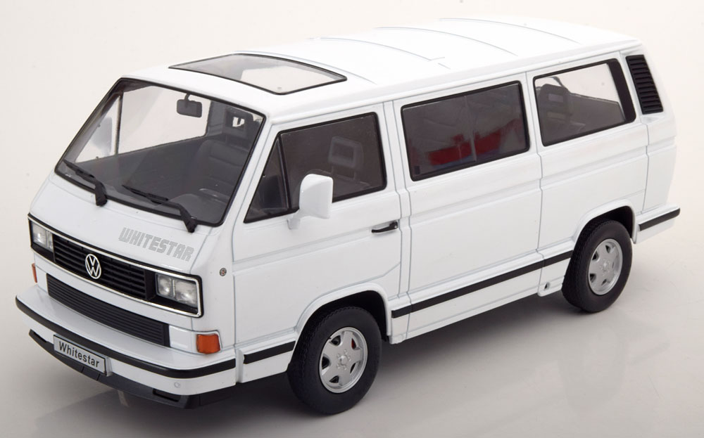 KK Scale 1:18スケール ダイキャストモデル 1993年モデル フォルクスワーゲン T3 Multivan Minibus WHITE/BLUE/RED STARVOLKSWAGEN - T3 MULTIVAN MINIBUS WHITE/BLUE/RED STAR 1993 1/18 by KK Scale NEW