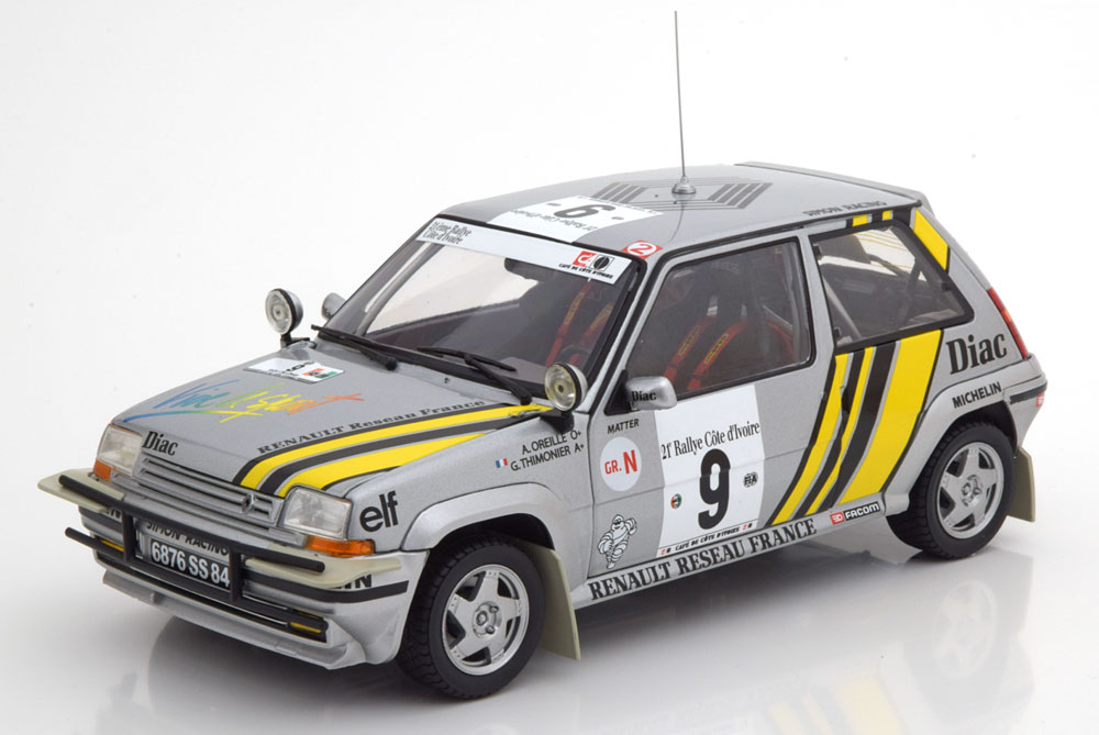 Norev ノレヴ 1/18 ミニカー ダイキャストモデル 1989年ラリー・コートジボワール ルノー R5 Supercinque GT Turbo No.9RENAULT - R5 SUPERCINQUE GT TURBO N 9 RALLY COSTA D'AVORIO 1989 A.OREILLE - G.THIMONIER