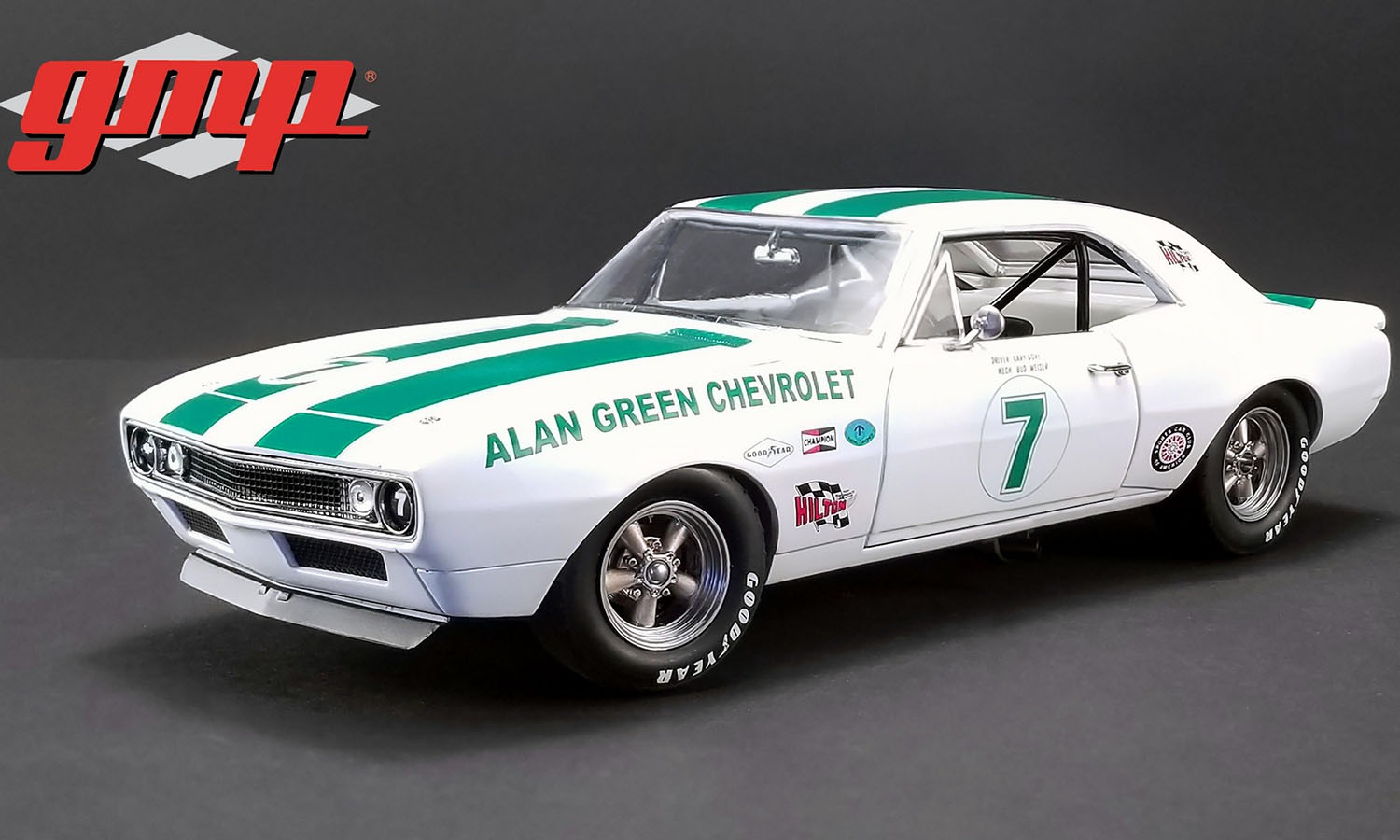 GMP 1/18 ミニカー ダイキャストモデル 1967年モデル シボレー カマロ Trans AM No.7 Allan Green Chevrolet#7 1967 CHEVROLET TRANS AM CAMARO - ALLAN GREEN CHEVROLET 1:18 GMP