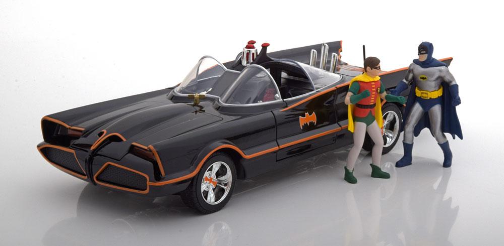 ミニカー 1/18 Jada TOYS 特別豪華モデル 1966年 バットマン TVシリーズ バットモービル フィギュア付 ライト点灯Batmobile Classic TV Series 1966 with Batman and Robin figure 1:18 Jada Toys