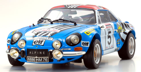 Kyosho 京商 1/18 ミニカー ダイキャストモデル 1973年ツール・ド・コルス ルノー アルピーヌ A110 No.51973 Alpine A110, #5 Tour de Corse driven 1/18 by Kyosho