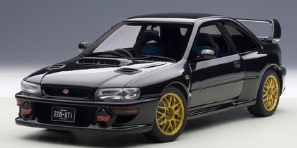AUTOart 1:18 1998年モデル スバル インプレッサ 22B STiバーション ブラック1998 Subaru Impreza 22B STi Version 1/18 Diecast Model Car by Autoart