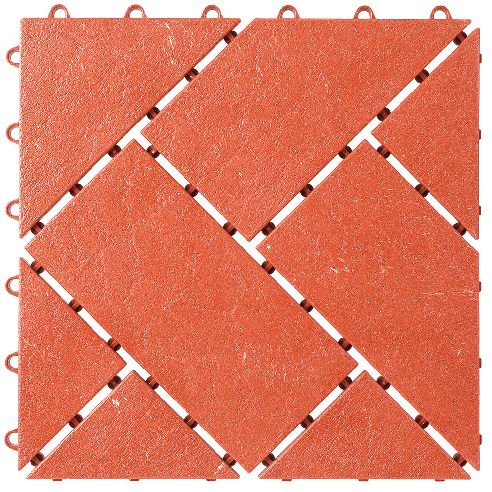 【ワタナベ工業直販】システムタイルSR-312赤レンガ(約30x30cm,30枚入り1カートン)【送料無料】ジョイント式床材