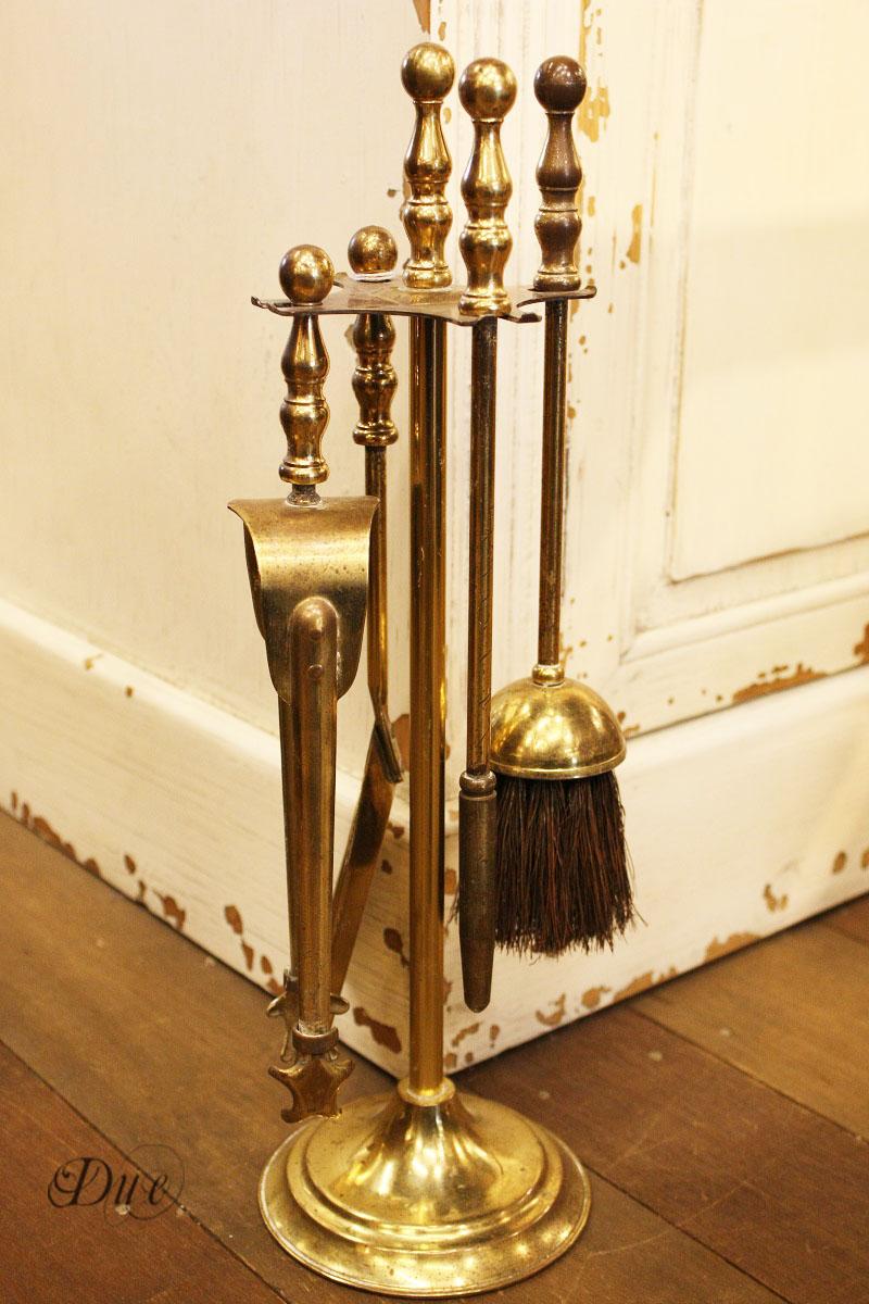 暖炉の掃除道具/アンティーク/イギリス/暖炉/真鍮/ブラシ/ピック