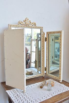 三面鏡/イギリス/アンティーク/ミラー/家具/木製