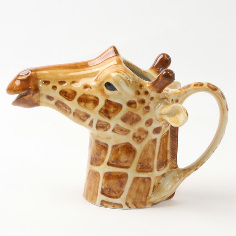 キリンのジャグ Giraffe Jug イギリス Quail Ceramics インテリア 水差し 置物 動物 メイルオーダー 安い 磁器製 オブジェ
