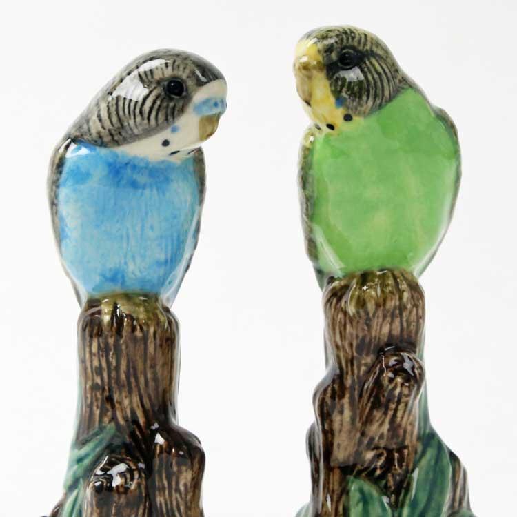 セキセイインコの置物  フィギアセット イギリス Quail Ceramics 動物 置物 オブジェ インテリア 磁器製 インコ いんこ