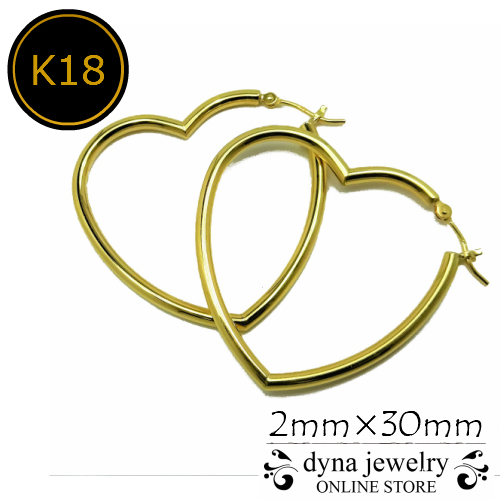 K18 イエローゴールド ハート フープピアス 2mm×30mm レディース (18金/18k/ゴールド製) 両耳