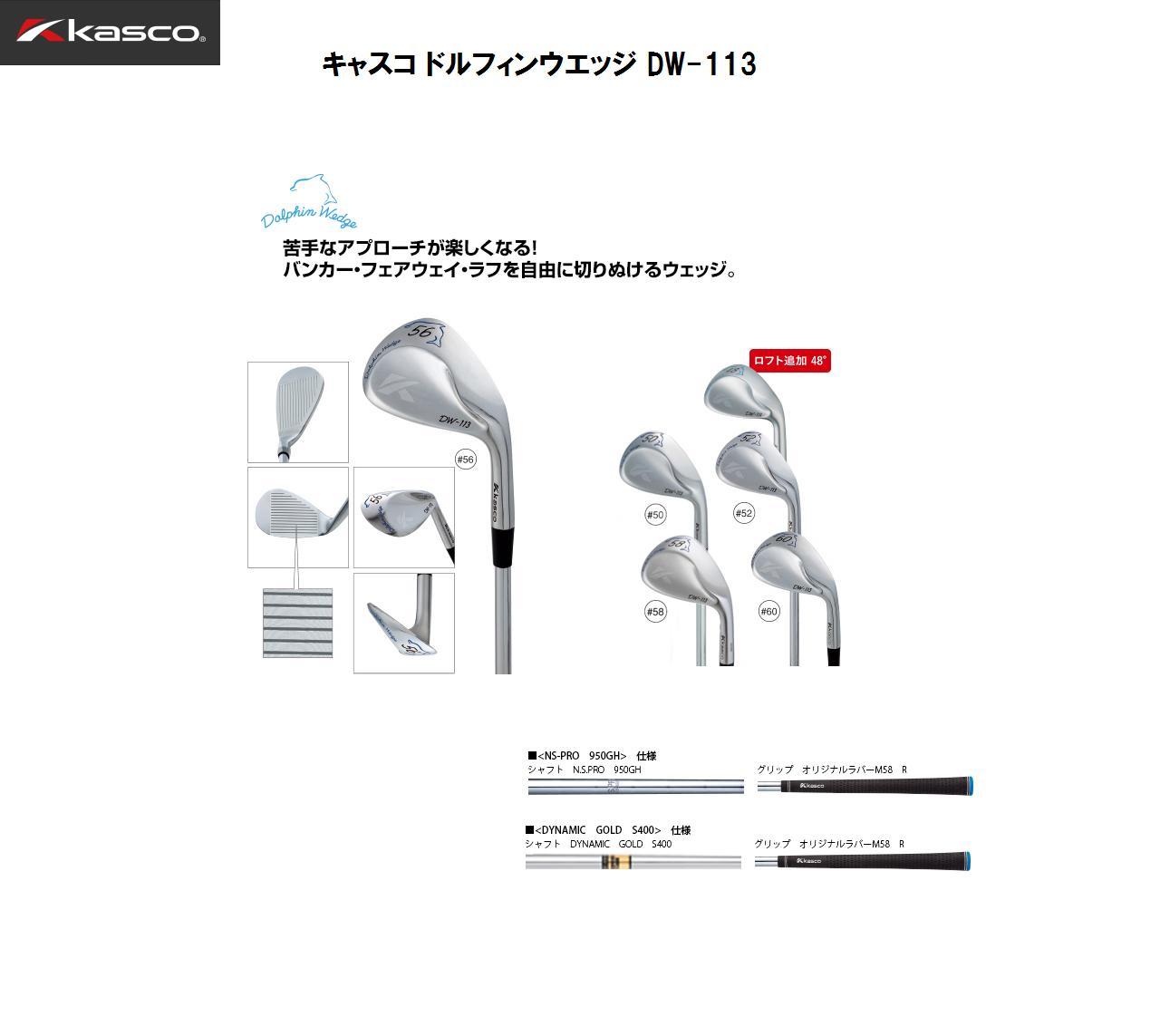 【新品】キャスコ DOLPHIN WEDGE DW-113 ドルフィンウェッジ113 クロムメッキ仕上げ  スチールシャフト 日本正規品 メーカー保証書付き