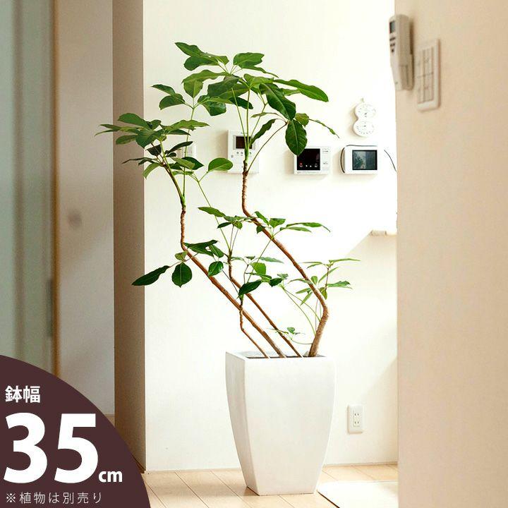 マットホワイト。ファイバークレイのスクエア植木鉢(8号~9号サイズの植物向け)【植木鉢 大型 室内 おしゃれ】【ma】※同梱不可