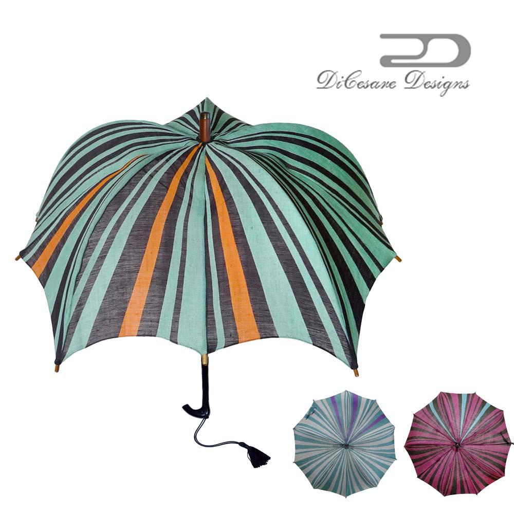 日本製 デザイナーズブランド 日傘 DiCesare Designs Kabocha ディチェザレ デザイン カボチャ 『京の傘』 女性用 遮光 UVカット 紫外線カット 麻 おしゃれ お洒落 モダン かわいい セレブ 高級 上品 婦人用 通販 深張り