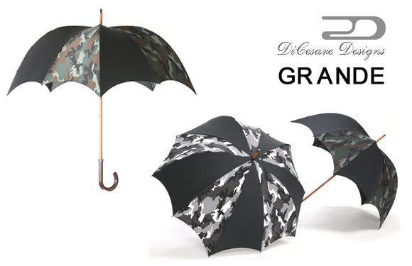 日本製 デザイナーズブランド 傘 DiCesare Designs GRANDE ディチェザレ デザイン グランデ 『urban camo』 男性用 雨傘 かさ カサ おしゃれ 深張り ドーム型 102cm 紳士用 迷彩柄 クリスマス プレゼント
