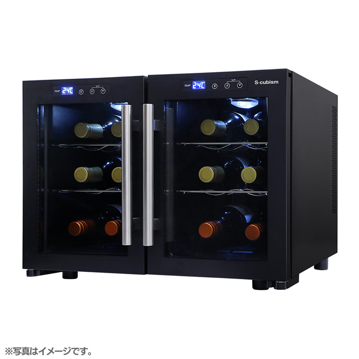 S-cubism デュアルワインクーラー SCW-212B 送料無料 ワインセラー 12本 温度設定 ワインクーラー 日本酒セラー ワイン冷蔵庫 ワイン収納 おしゃれ デザイン インテリア 観音扉式 静音 リビング エスキュービズム 【D】