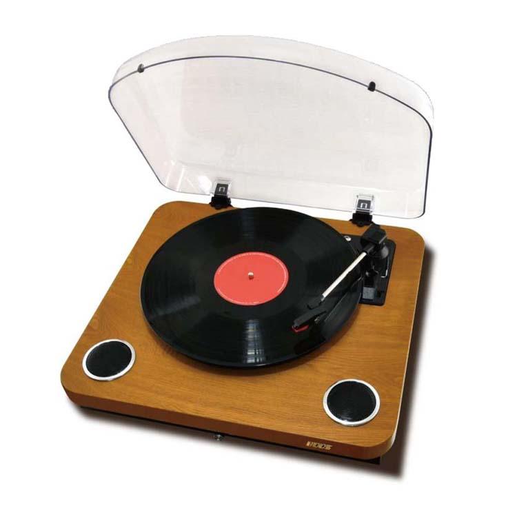 レコードプレイヤー Bluetooth HNB-PL1000BT(WD)送料無料 ポータブルレコードプレーヤー おしゃれ ウッド調 木目調 ブルートゥース オーディオ 音楽再生 アナログ レトロ BOOS オーディオプレイヤー レコード 再生 木目 モダン シンプル 【D】