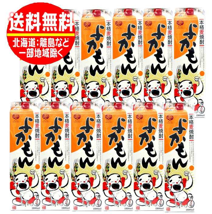 25度 【全国送料無料】よかもん 麦焼酎 1800mlパック 2ケース(12本)