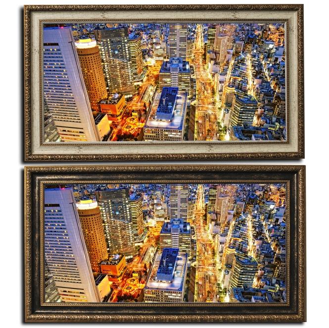 壁掛けアート アートパネル 風景画 フォトグラファー y2-hiro 写真 ワイド 額付き 都市の夜景 夜景 建物 高層ビル 街 母の日 父の日 ギフト インテリア雑貨 キャンバスジグレー版画