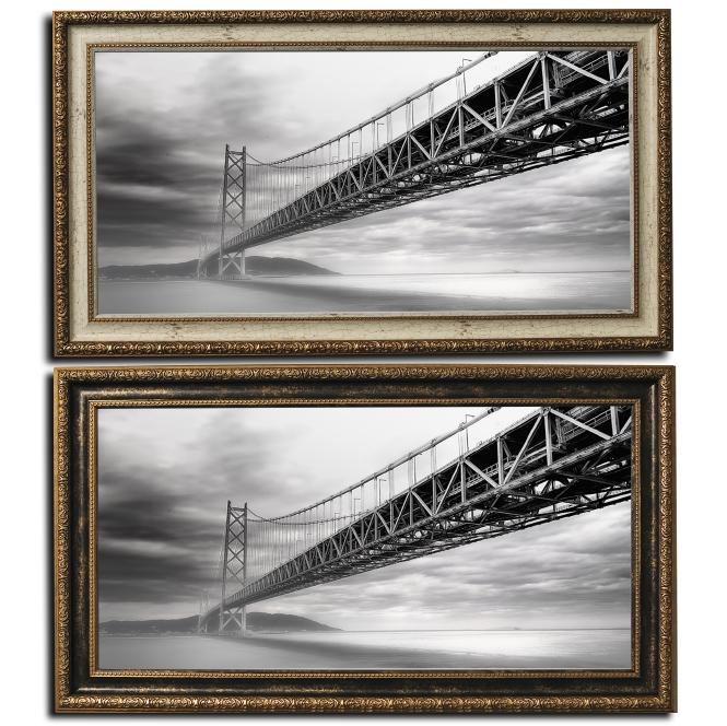 額付き壁掛けアート アートパネル 風景画 y2-hiro 写真 モノクロ白黒 ワイド橋 日本 海 引越し祝い リビングの模様替えに キャンバスジグレー ジークレー版画