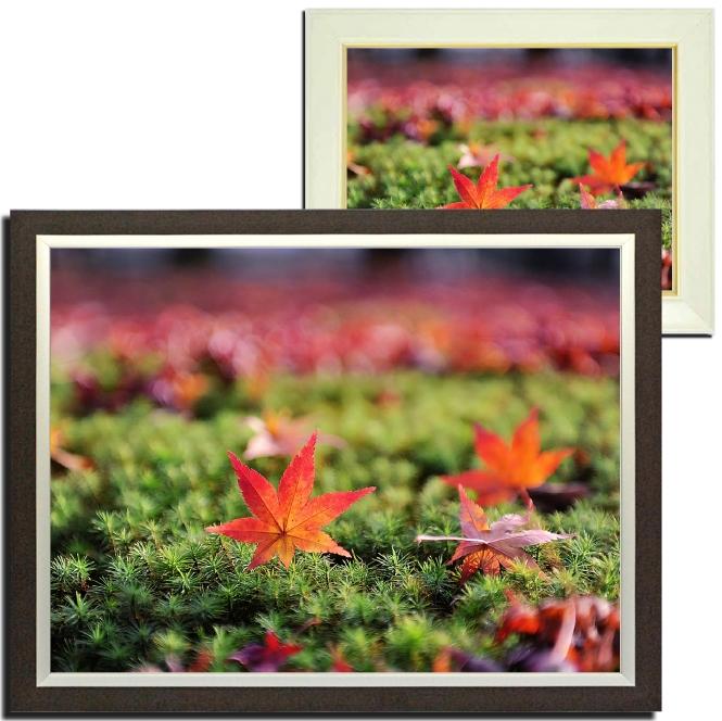 風景画 壁掛け インテリア 紅葉 落ち葉 額付き アートフレーム