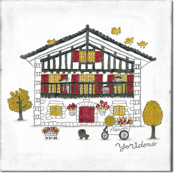 外国の方へのお土産品 プレゼントにも最適 日本在住のイラストレーターが描くイラストレーション 新作 当店限定商品 人気イラストレーターyoridonoによる houseシリーズ 壁掛けキャンバスアート マーケティング ふらんすらへん 赤 家 ヨーロッパ SALE 赤い家 花 木 絵画 建物 イラスト フランス 子供
