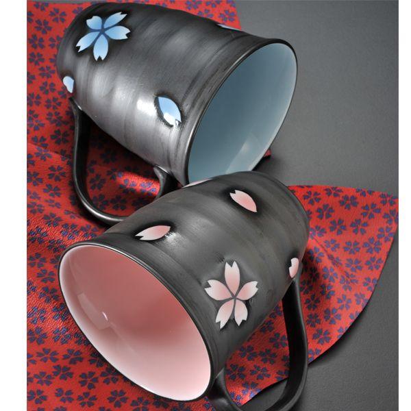 【名入れ専門】【名入れギフト 陶器】有田焼 取っ手付桜マグカップ2点セット