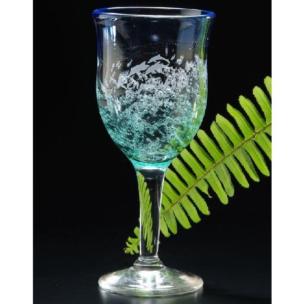 【名入れ専門】【名入れ プレゼント】津軽びいどろ-手作りワイングラス-水中