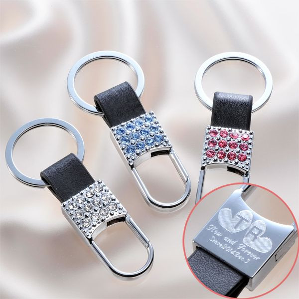 Rhinestone x leather key ring (/ gifts / gift set / 内 祝 I / marriage 内 祝 I / wedding / return / gifts / father's day / mother's day ...