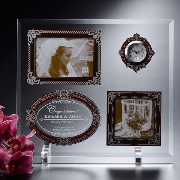 【名入れ専門】【名入れ プレゼント】グラスアンティークフォトフレーム 時計&2ウィンドウ