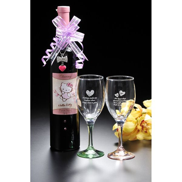 Excellent case present hello kitty commemorative bottle & noche wineglass set