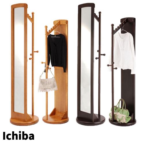 【送料無料】【代引利用不可】ミラー付き回転ハンガー全身ミラー 鏡 全身鏡 姿見 スタンドミラー ラック 収納 ハンガー市場株式会社 Ichiba天然木 M-2290