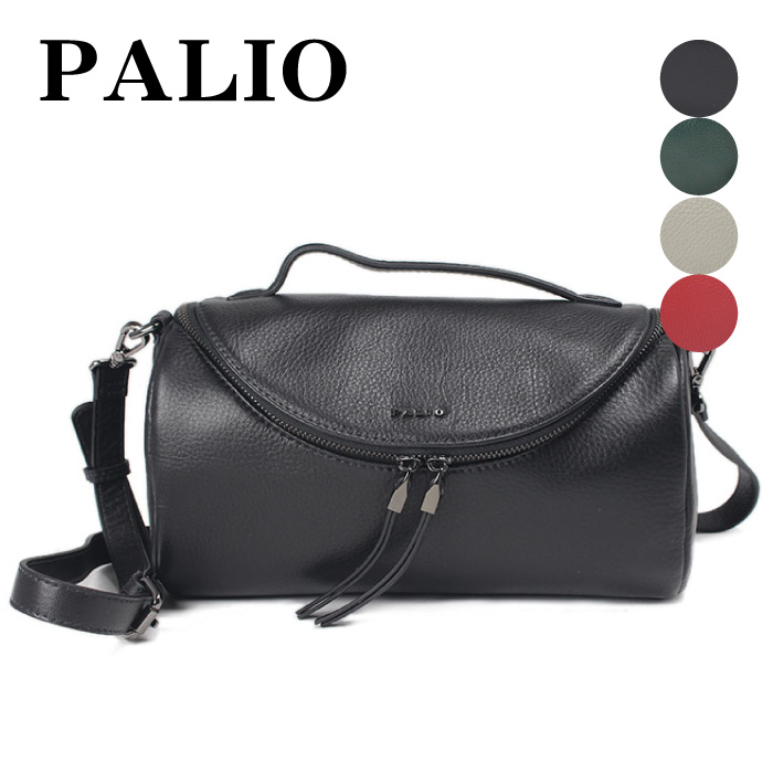 バッグ レディース ショルダーバッグ ハンドバッグ 2Way 本革 牛革 レザー イタリア伝承 ブランド PALIO パリオ ロール型 フォーマル 普段使い 中が見やすい鞄 ブラック レッド グリーン グレー 935-pa-067