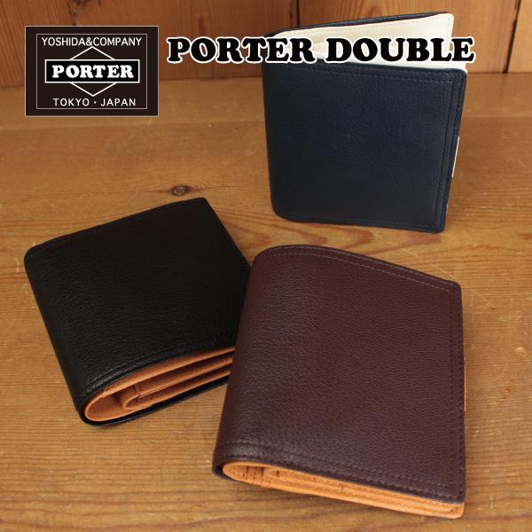 PORTER DOUBLE ダブル 二つ折りウォレット 二つ折り財布 メンズ (129-06012) 吉田カバン ポーター 財布 二つ折り 革 レザー ゴート 小銭入れ 人気 ブラウン ブラック ネイビー 配色が素敵な財布 ポイント10倍