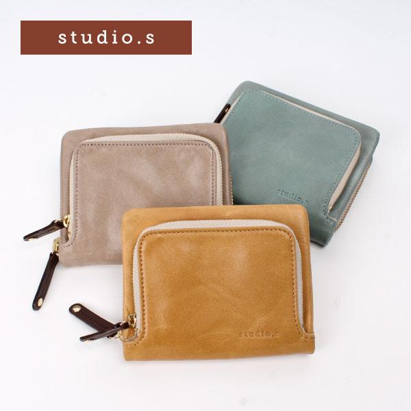 正規店 財布 レディース 二つ折り 本革 馬革 ポニーレザー STUDIO・S スタディオ・S チェニー ホースレザー ラウンドファスナー 軽い 袋縫い 見やすい 取り出しやすい 小さい財布 軽い キャメル ミント オーク 941-ss-8r102