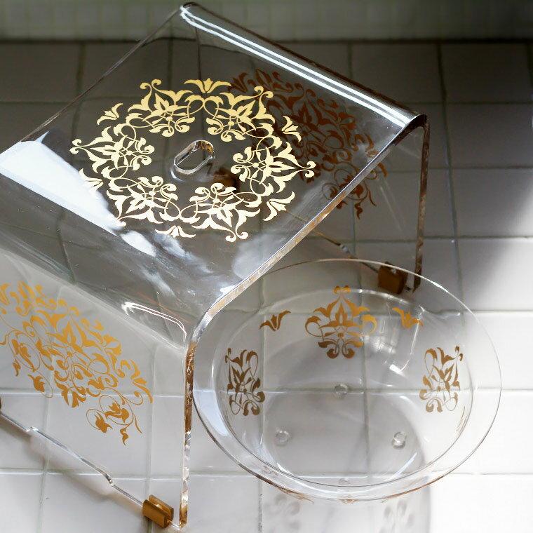 アクリルバスチェアセット「グラマラス」バスチェア&洗面器2点セット【送料無料】【26型 アクリル バスチェア セット ウォッシュボール バスチェアー セット 滑り止め 風呂イス】