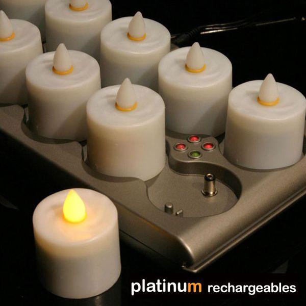 【送料無料】充電式LEDキャンドル「プラチナ」12ピース充電ユニット【充電式 LEDキャンドルライト LEDライト キャンドル ハロウィン スマートキャンドル グラスタイプ キャンドルグラス 節電 照明 ライト】