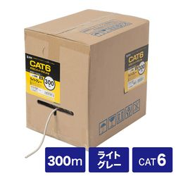 サンワサプライ カテゴリ6UTP単線ケーブルのみ 300m ライトグレー KB-T6L-CB300N メーカー在庫品【10P03Dec16】