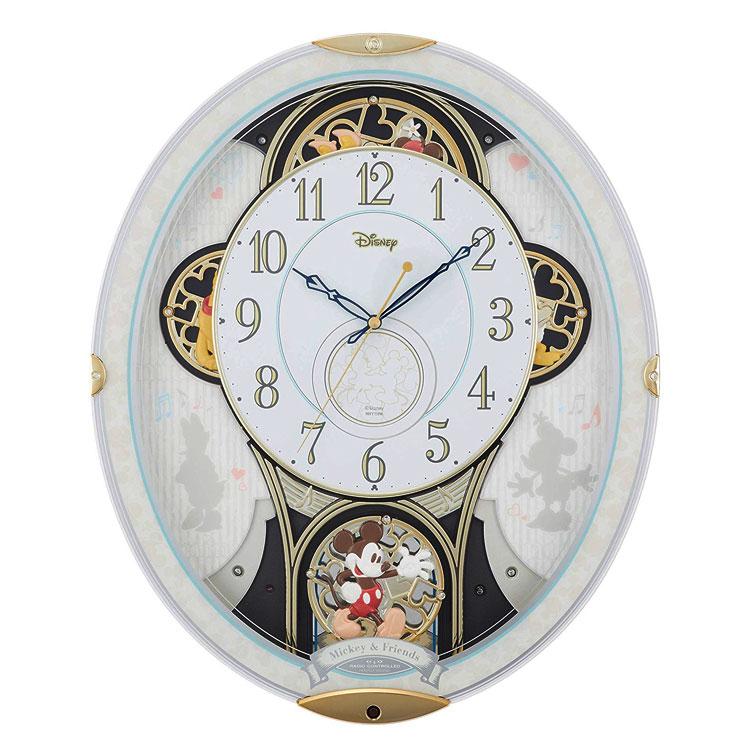 リズム からくり掛け時計 掛時計 電波時計 ミッキー&フレンズM509 キャラクター 4MN509MC03 ディズニー クロック CLOCK Disney ミッキーマウス
