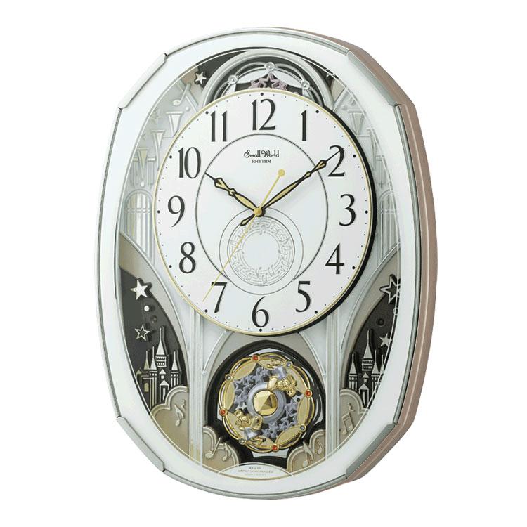 リズム時計 ミュージック 電波からくり時計 スモールワールドノエルM スワロフスキーエレメント使用 4MN513RH03 クロック CLOCK 電波時計 掛け時計 音楽内臓
