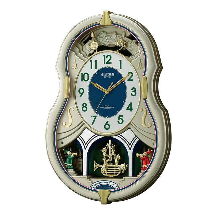 からくり時計 リズム時計 電波時計 掛け時計 掛時計 スモールワールドカラーズ 4MN543RH18 クロック CLOCK