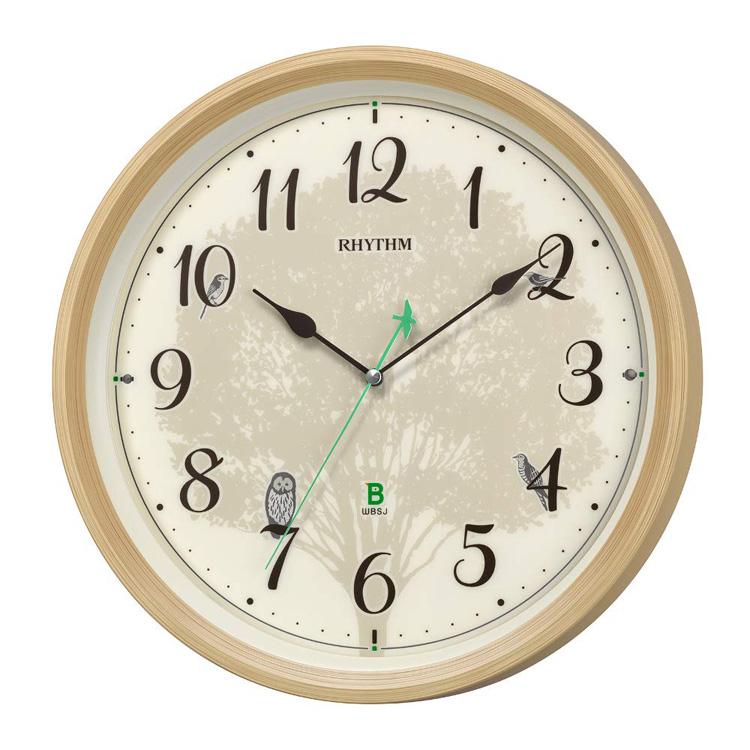 リズム時計 日本野鳥の会 四季の野鳥 報時掛時計 電波掛時計 8MN409SR06