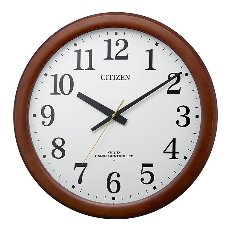 リズム時計 CITIZEN シチズン 大型電波掛け時計 木枠 施設 大きい 公共施設 ブラウン 茶色 電波時計 壁掛時計 アナログ 8MY548-006