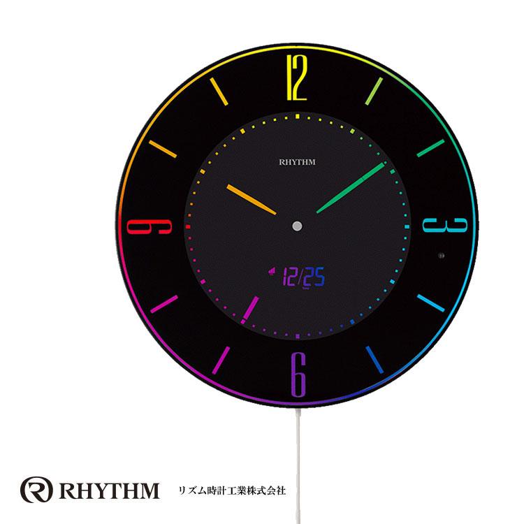 リズム時計 電波時計 掛け時計 置き時計 掛け置き兼用 薄型 電波掛け時計 Iroria A イロリア エー 8RZ197SR02