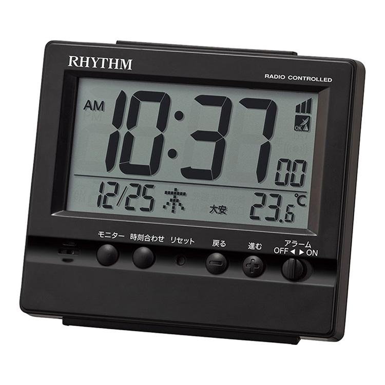 rhythm clock radio time signal electric wave table clock table clock alarm clock fitting wave vista black 8rz201sr02 alarm (2018) movie wave alarm clocks – cortesocial co