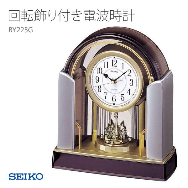 有SEIKO精工座钟电波钟表旋转装饰的BY225G