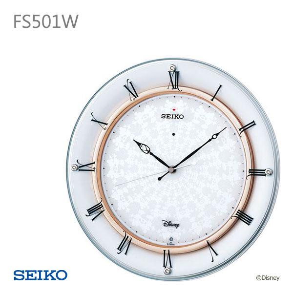 SEIKO セイコー 電波掛け時計 ディズニー ロマンチック シンプル ミッキー ミニー 白 ホワイト 金色 ゴールド 掛時計 電波時計 Disney FS501W クロック CLOCK お取り寄せ