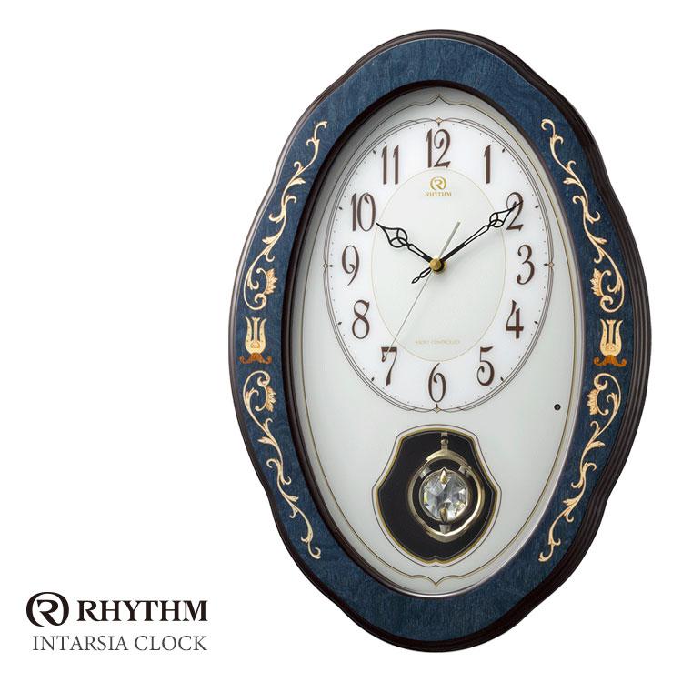 リズム時計 電波時計 掛時計 花柄象嵌細工 インタルシア RHG-M90 4MN461HG11 お取り寄せ