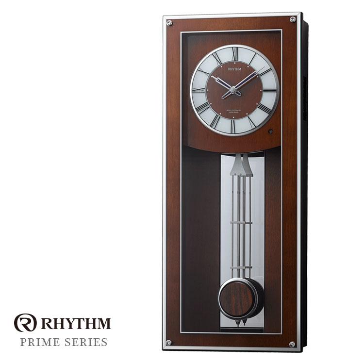 リズム時計 電波時計 掛け時計 振り子時計 プライムフィールド 4MN522RH06 お取り寄せ
