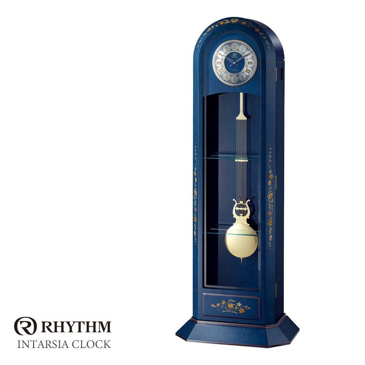 リズム時計 高感度電波時計 置時計 ホールクロック 花柄象嵌細工 インタルシア 日本製 RHG-R09 4RN434HG04 お取り寄せ