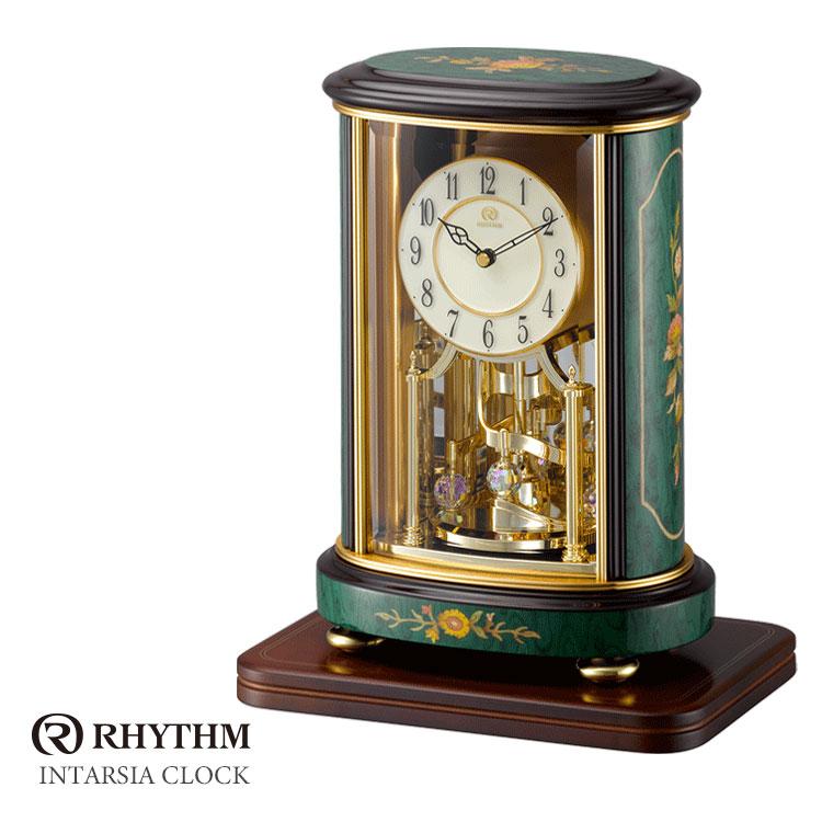 リズム時計 クオーツ置時計 置時計 花柄象嵌細工 インタルシア RHG-R56 4SG702HG05 お取り寄せ
